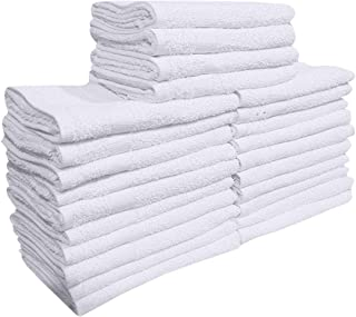 "GOLD TEXTILES 24 Pcs (2 Dozen) White 16""x27"" Pure Cotton Economy Hand Towels Salon/Gym/Hotel Super use Absorbent Best for ..."