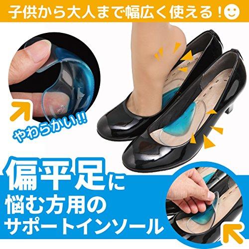 [Phoenix]偏平足専用シリコンインソール衝撃吸収足裏足底の痛みを解消!2足分4枚セットクリアーブルー