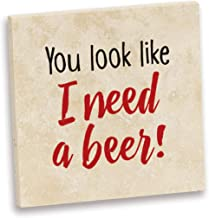 product image for Imagine Design Relatively Funny You Look Like I Need A Beer Travertine Coaster, Red/Black/White