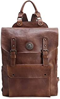Mens Leather Bag Vintage Handmade Full Grain Leather Backpack Travel Backpack Rucksack for Men Fashion Bag (Color : Brown, Size : S)
