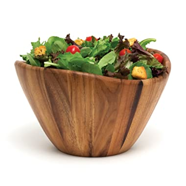 Lipper International Acacia Wave Serving Bowl for Fruits or Salads, Large, 12  Diameter x 7  Height, Single Bowl