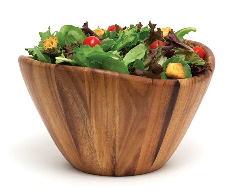 Lipper International 1174 Acacia Wave Serving Bowl for Fruits or Salads, Large, 12