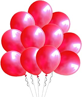 Elecrainbow 100 Pack 12 Inch 3.2 g/pc Thicken Round Pearlescent Latex Red Balloons for Party Decorations, Red