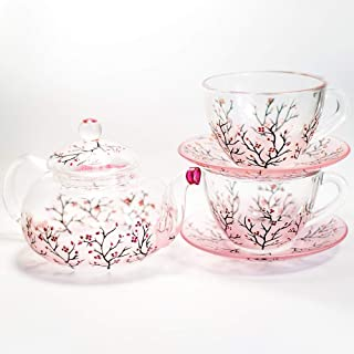 Cherry Blossom Teapot with Cups and Saucers Elegant Tea Set Women Hand Painted Personalized Mother's Day Gift Handmade Luxurious Tea Accessories for Tea Party