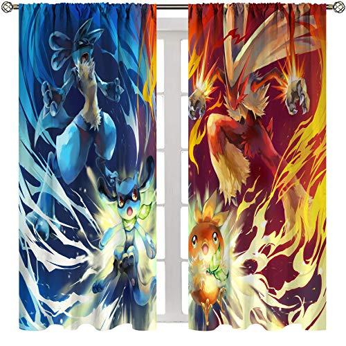 SSKJTC Cortinas opacas con bolsillo para barra, para dormitorio, anime, Pokemon Blaziken vs Lucario, para sala de estar, habitación de los niños, 100 x 163 cm