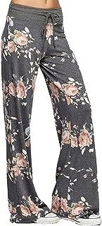 Women's Pajama Lounge Pants Floral Print Comfy Casual Stretch Palazzo Drawstring Pj Bottoms Pants Wide Leg