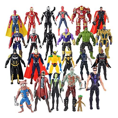 FUBINMY Figuras 24 unids/Lote Figuras de acción LED Luz Thanos Herrón Hombre Thor Hulk Hulkbuster Vision Black Panter Loki Star Señor Modelo Juguetes Muñecos