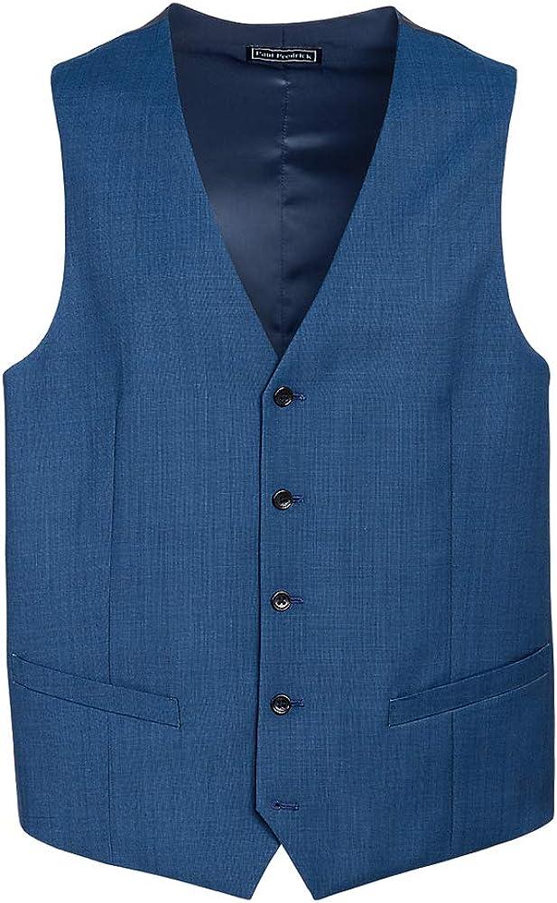 Paul Fredrick Men's Classic Fit Sharkskin No Lapel Suit Vest