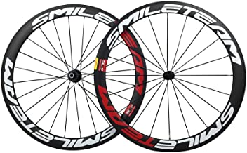 Smileteam Full 3K Carbon Bicycle Road Wheels Racing Bike Clincher Wheelset Matte Finish with Green Color for Shimano 10/11 Speeds