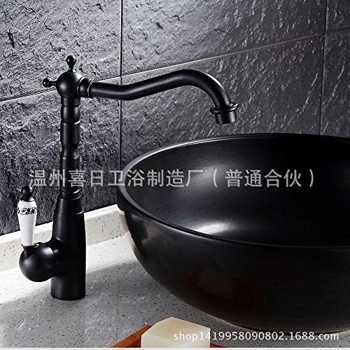 Maifeini _ Grifo de lavabo de latón negro antiguo azul y blanco
