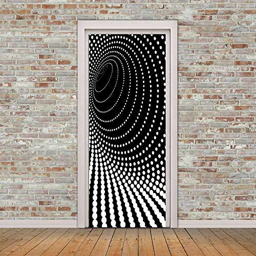 Adhesivo para puerta 3D estéreo adhesivo para puerta punto 3D en blanco y negro mural 3D adhesivo para dormitorio estéreo autoadhesivo impermeable