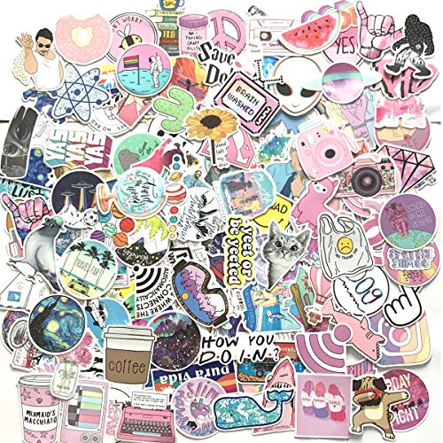 HaWenny 156 Pcs Cute Stickers,Laptop and Water Bottle Decal Sticker Pack for Teens, Girls, Women Vinyl Stickers Waterproof
