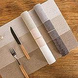 LYMUP Tovagliette quadrate, beige a righe orizzontali antiscivolo, resistente allo sporco, resistente al calore, tappetino morbido, lavabile e facile da pulire (dimensioni: 4 pezzi)