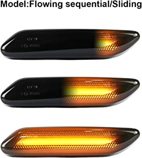 Gempro 2Pcs LED Front Fender Side Marker Light Turn Signal Lamp Assembly Replacement For 2011-2016 Mini Cooper R60 R61 Countryman Paceman, Smoke Lens Style Black