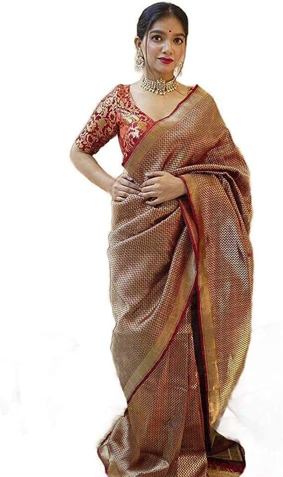Indian SHRUHAD ® Women's Kanjivaram Silk Saree in RED & GOLD color With Jacquard Design Blouse Piece (Saree Length 6.3 Mtr) Saree