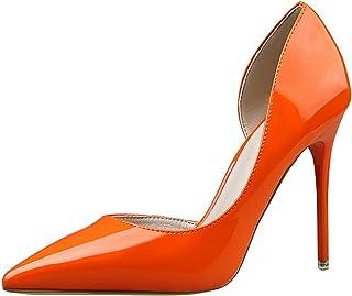 82f14d8533f14a OALEEN Escarpin Vernis Femme Eté Sexy Bout Pointu Côté Ouvert Chaussures  Talon Haut Aiguille