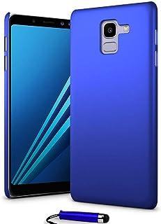 24/7 Oliver Samsung Galaxy A8 2018 hårt fodral ultratunt skal bakskydd + Samsung Galaxy A8 2018 skärmskydd + pekpenna (blå)