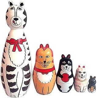 Babyby 5-Nesting Cute Wooden Nesting Dolls Matryoshka Animal Russian Doll (Cat) Wooden Craft Craft Gift Customization