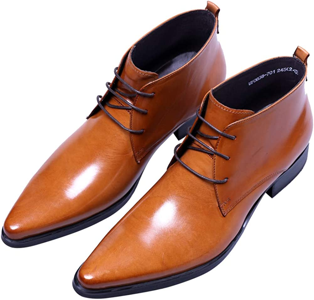 Santimon Men's Lace Up Classic Oxford Pointed Toe Dress Ankle Chukka Boots