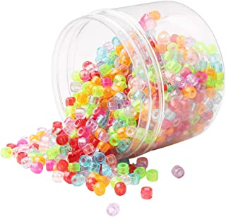 Baosity 380Pcs/Jar Transparent Plastic Pony Beads LOT Barrel Shaped 6x9mm For Kids