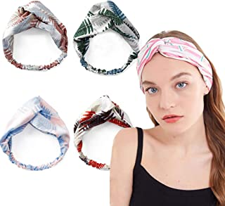 Women's Turban Headband 4-Pack Boho Head wraps Vintage Flower Printed Criss Cross Elastic Twisted Cute Hair Accessories