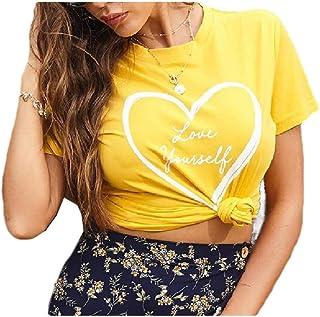 neveraway Women Crew-Neck Blouse Short Sleeves Floral Printed Summer Tees Shirt