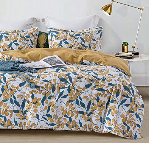 SLEEPBELLA Duvet Cover Set Queen Size Yellow Teal Leaves 100 Cotton Bedding Set White Botanical product image