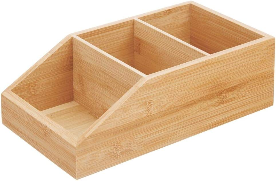 Caja de Madera ecol/ógica para Guardar Alimentos mDesign Juego de 4 Cajas organizadoras Grandes de Madera de bamb/ú Organizador de Cocina y despensa con 3 Compartimentos y dise/ño Abierto marr/ón