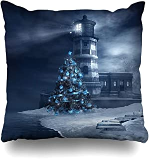 Ahawoso Throw Pillow Cover Lighthouse Frost Blue Christmas Tree Holidays Night Ocean Sea Winter Design Home Decor Cushion Case Square Size 20