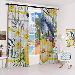 GUUVOR Parrot Hook up Curtain Tropic Pattern with Parrot Orchids and Hibiscus Flowers Hawaiian Jungle Style Image for Bedroom Kindergarten Living Room W100 x L84 Inch Multicolor