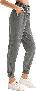 Women's Casual Paper Bag Pants Elastic High Waist...