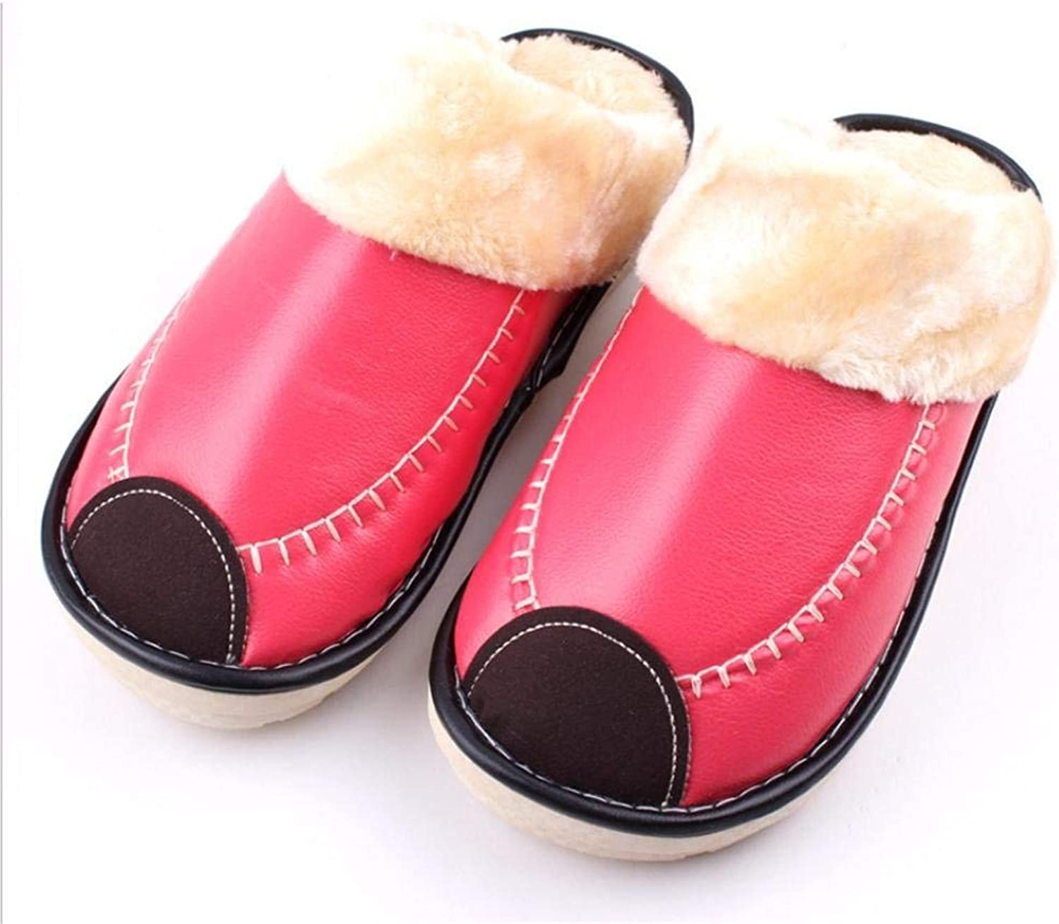 Lady Slippers Household Cotton Slippers Ladies Waterproof Non-Slip Artificial Leather for Fall Winter Keep Warm Yellow Pink Red bluee Slippers