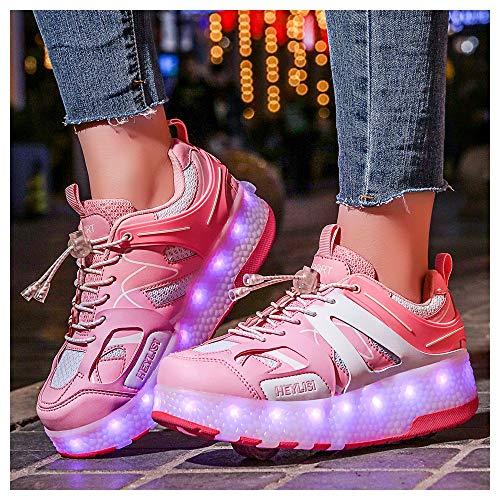 WXBXIEJIA Unisex Niños Niñas LED Luz Flash Zapatos De Roller con USB Recargable Automática Ruedas Patines Al Aire Libre Gimnasia Running Zapatillas De Skateboard, Tamaño (28-40) Pink-34