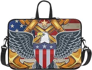 American Eagle USA Flags Briefcase Laptop Bag Messenger Shoulder Work Bag Crossbody Handbag for Business Travelling