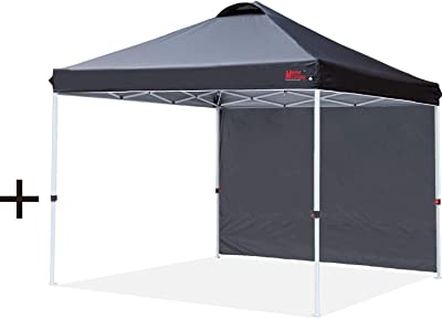 MASTERCANOPY Pop-up Instant Canopy with 1 Side Wall (8'x8', Black) + MASTERCANOPY Pop-up Instant Canopy (8'x8', Black)