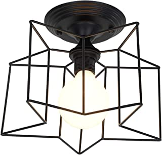 Semi Flush Mount Ceiling Light,Retro Vintage Industrial Metal Star Shade Pendant Light for Hallway Stairway Bedroom Kitchen, Black.