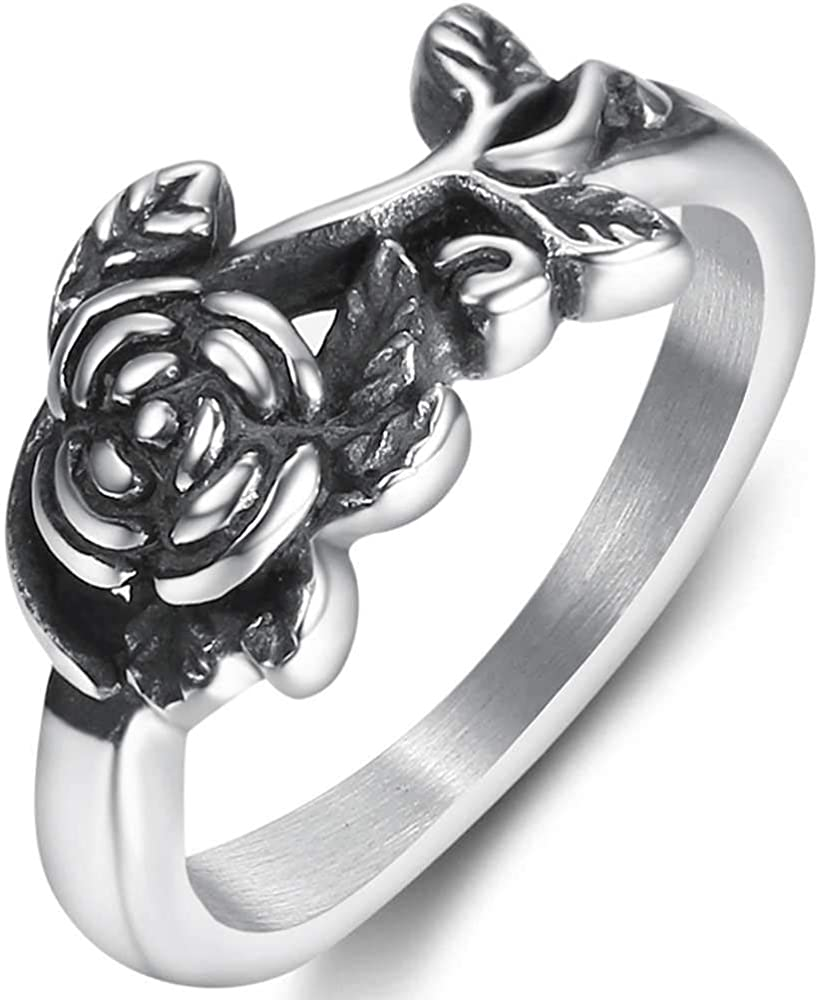 Jude Jewelers Stainless Steel Retro Recommendation S Flower Vintage Leaf Rose Free Shipping Cheap Bargain Gift