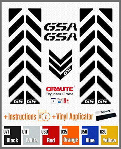 7pcs Kit Reflektierende Aufkleber mit GS kompatibel für Touratech Aluminio Moto BMW Motorrad F650 F700 F800 R1150 R1200 GS GSA Adventure (Black)