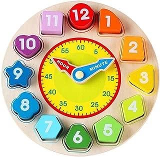 YeahiBaby Horloge de Tri en Bois en Forme de Grenouille Jouet en Bois avec Chiffre et Forme B/éb/é Enfants Apprentissage Jouet /Éducatif