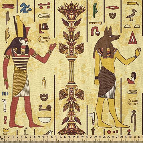 ABAKUHAUS egipcio Tela por Metro, Grunge y retro Timeless, Tela Elastizada Estampada para Costura Arte y Bricolaje, 3 Metros, Multicolor