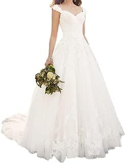 Lace Applique Straps Sweetheart A Line Wedding Gowns Bridal Dresses