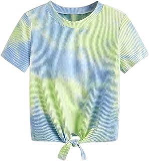 Allywit Women Tie-dye Round Neck Cut Out Crop Top Short Sleeve Knot Front Cuffed Short T-Shirt Top