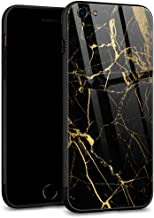 iPhone 6S Case,iPhone 6 Cases Tempered Glass Back Shell Cool Pattern Designed with Soft TPU Bumper Case Fashion for Boys Men Apple iPhone 6/6S Cases -Black Gold Marble