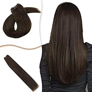 RUNATURE Sew in Hair Color 2 Darkest Brown Human Hair Extensions 20 Inches 100g 1pcs Natural Human Remy Hair Bundles Color Hair Extensions Double Weft Hair Weft