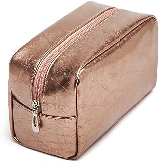 Makeup Bag, iSPECLE Premium Cosmetic Bag for Women Girls Rose Gold