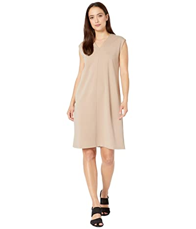 Eileen Fisher Petite V-Neck Knee Length Dress (Bramble) Women