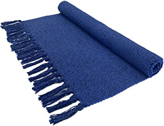 Eanpet Braided Rug Cotton Area Rug Hand Woven Reversible Floor Rug Pure Tassels Throw Rugs Door Mat Laundry Room Rug Indoor Area Rugs Tablecloth Runner Bathroom (2x3 FT, Royal Blue)