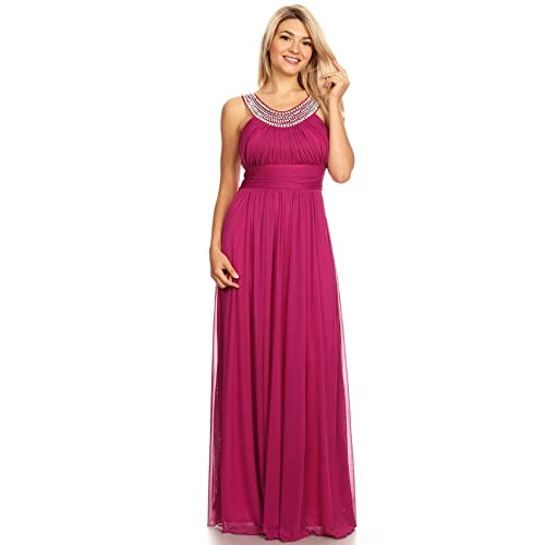 983177d4 LA Women's Bridemaid U-Neck Diamond and Pearl Accents Dress