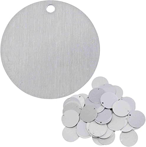 discount Stamping Blanks - 1.5 discount Inch Round Circle discount with Hole - Aluminum 0.063 Inch (14 Ga.) - 50 Pack online sale