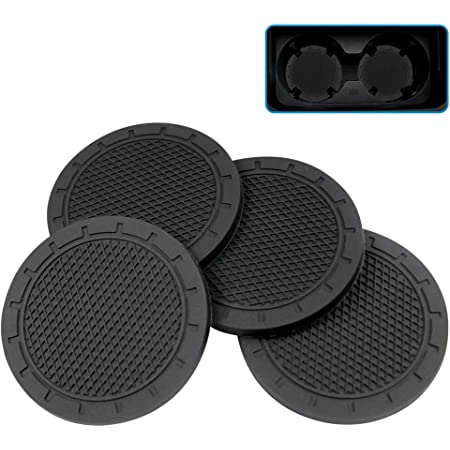 Black 2.75 Inch Diameter Universal Vehicle Travel Auto Anti Slip Silicone Cup Holder Mat Drink Coaster Interior Accessories for Vehicle SUV Truck Car 6 Pieces Cup Holder Insert Coasters